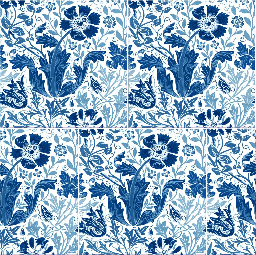 William Morris Compton tiles, blue and white