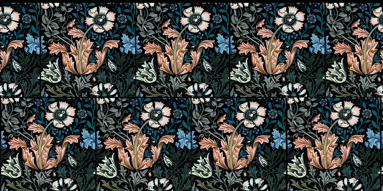 William Morris Compton tiles, salmon