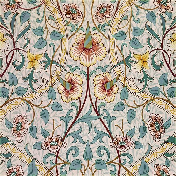 William Morris, John Henry Dearle: Daffodil in blue