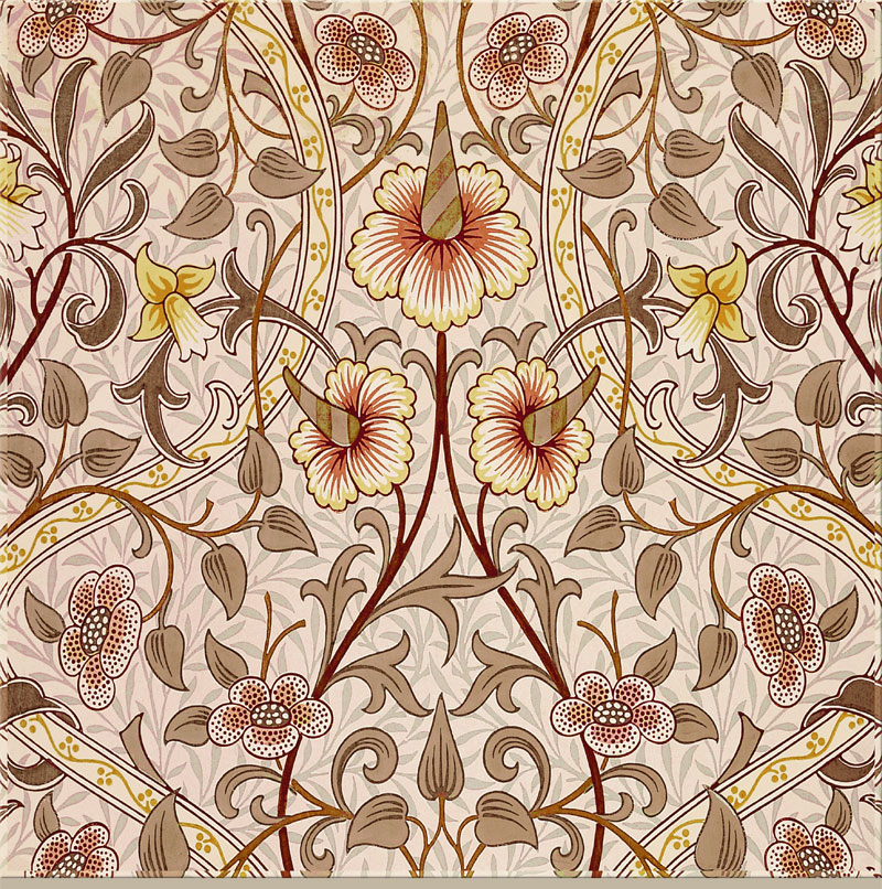 William Morris, John Henry Dearle: Daffodil in mauve and earth