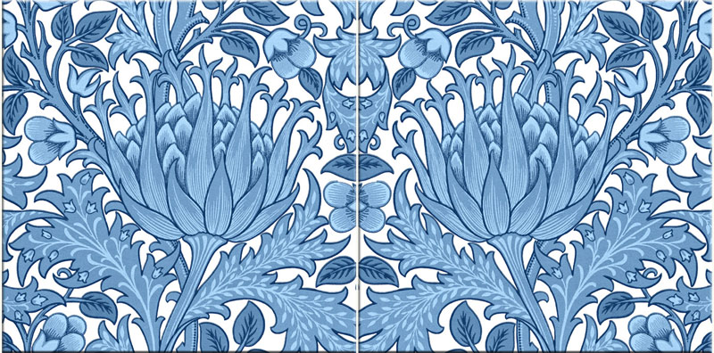 Morris and Co. Artichoke Accent Tiles, blue and white