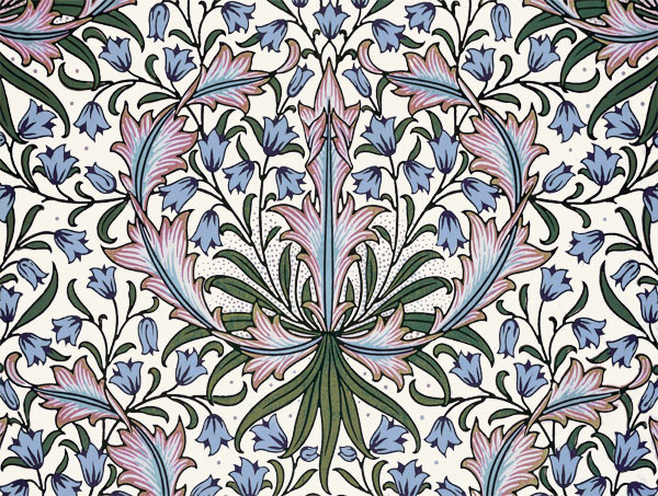 William Morris Tile: Harebells, blue centers, 8x6 inch border tiles