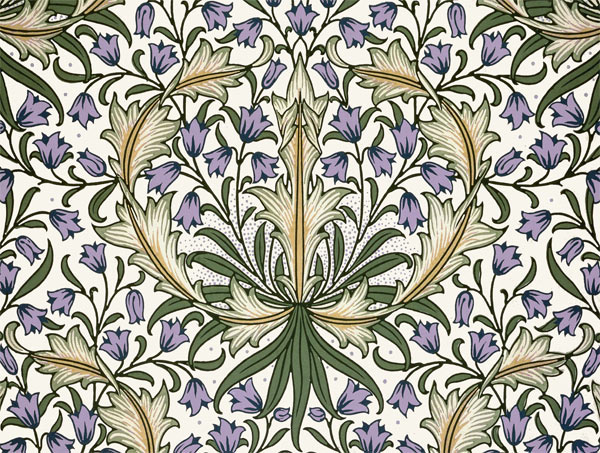 William Morris Tile: Harebells, lavender, 8x6 inch border tiles