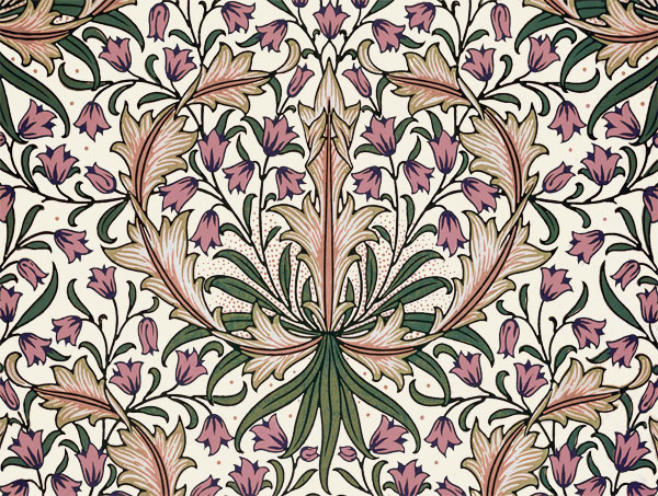 William Morris Tile: Harebells, rose-peach, 8x6 inch border tiles