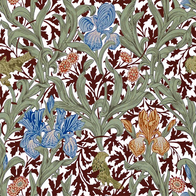 William Morris Tile: Iris, blue and orange irises, wine leaves, off white background
