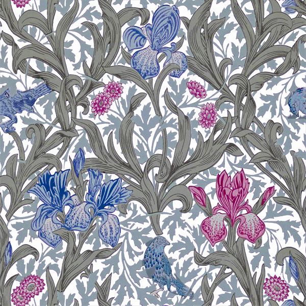 William Morris Tile: Iris, Blue and Pink Irises, blue birds, white background, 6 inch tiles