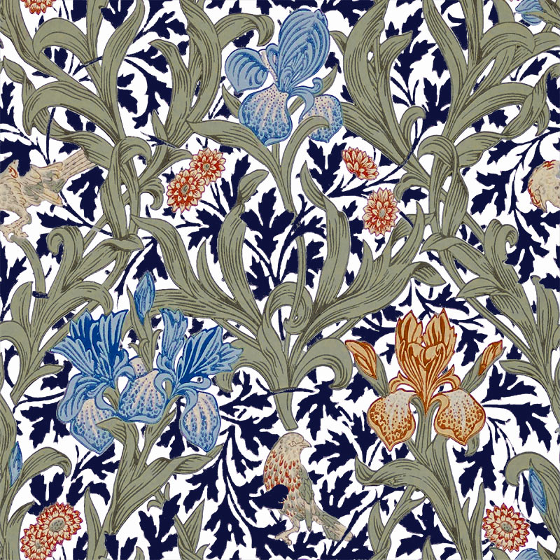 William Morris Tile: Iris, Blue and Orange Irises, indigo leaves, off white background, 6 inch tiles