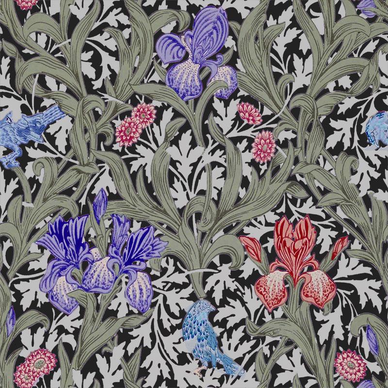 William Morris Tile: Iris, purple and rose irises, light leaves, dark background
