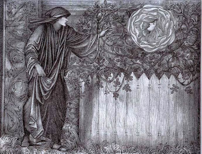 Original Burne-Jones embroidery design for Heart of the Rose, produced after his death in 1901. Foreground lilies were later added by John Henry Dearle for Morris & Co.
