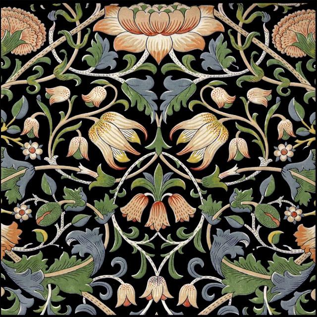 William Morris Lodden Tile, black background variation WilliamMorrisTile.com