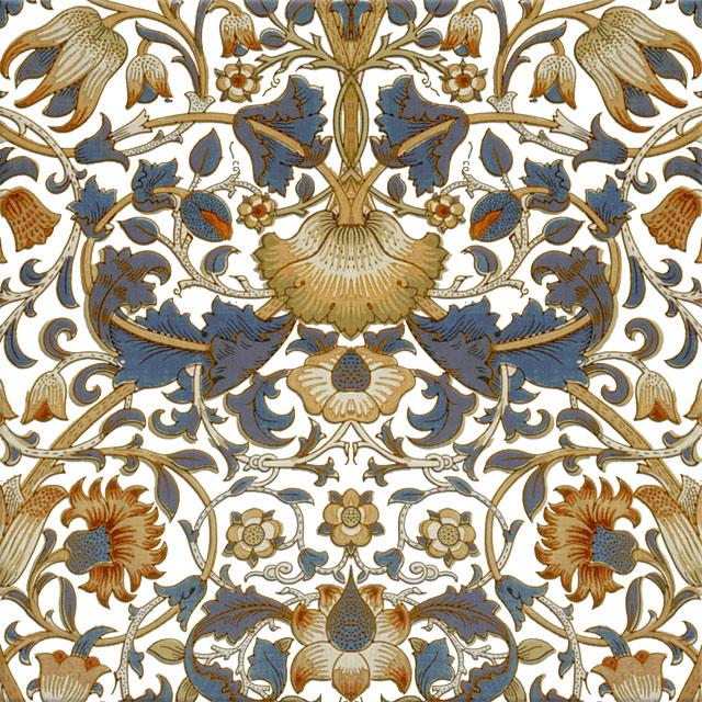 William Morris Lodden Tile, blue and gold on white white lodden variation WilliamMorrisTile.com