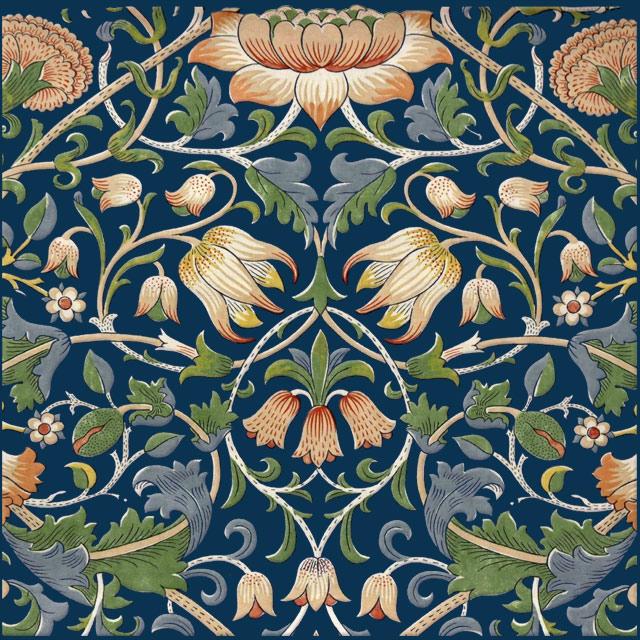 William Morris Lodden Tile, cobalt background variation WilliamMorrisTile.com
