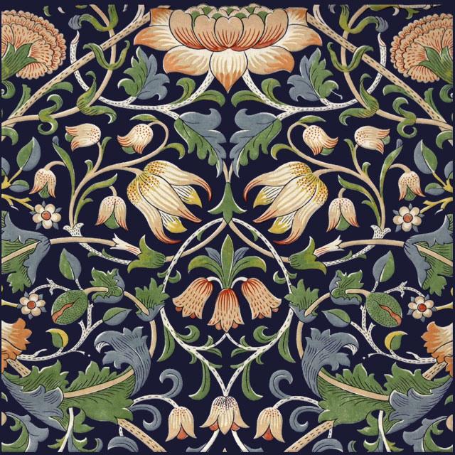 William Morris Lodden Tile, indigo background variation WilliamMorrisTile.com
