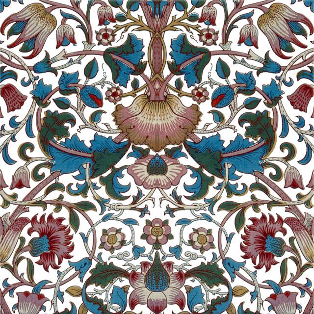 William Morris Lodden Tile, Lodden in cool colors on white variation WilliamMorrisTile.com