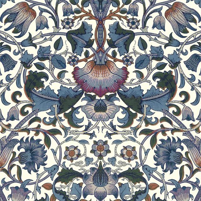 William Morris Lodden Tile, Lodden in blues on cream variation WilliamMorrisTile.com