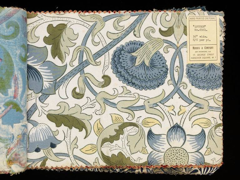 Lodden variation from Morris & Co. swatch book, 1900-1910 (V&A). Fewer and different colors from the first Lodden produced at Merton Abby in 1883.