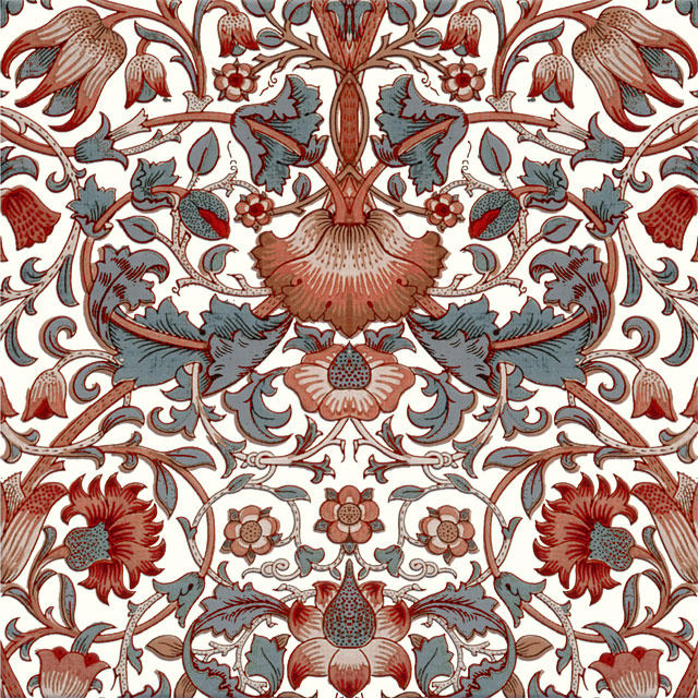 William Morris Lodden Tile, reds and grays, winter colors variation. from WilliamMorrisTile.com