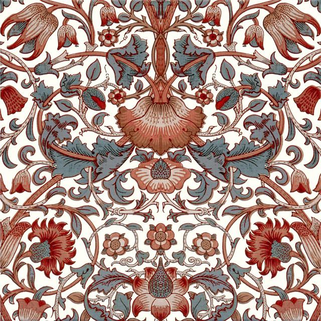 William Morris Lodden Tile, Lodden in reds and grays on light Cream variation WilliamMorrisTile.com