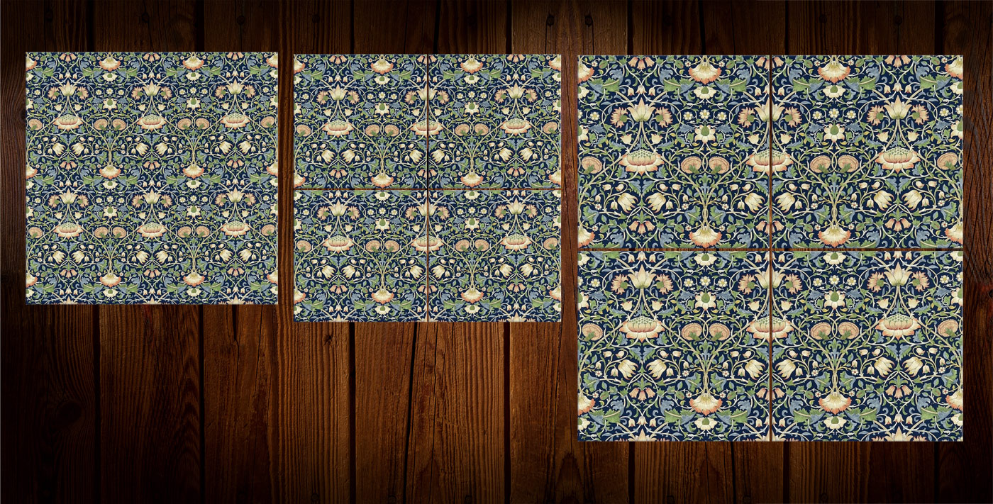 William Morris Lodden tiles with dark cobalt background, 8 inch and 4.25 inch/6 inch.