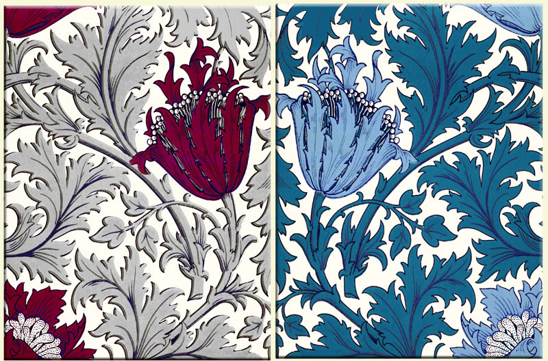 William Morris Anemone tiles, variations