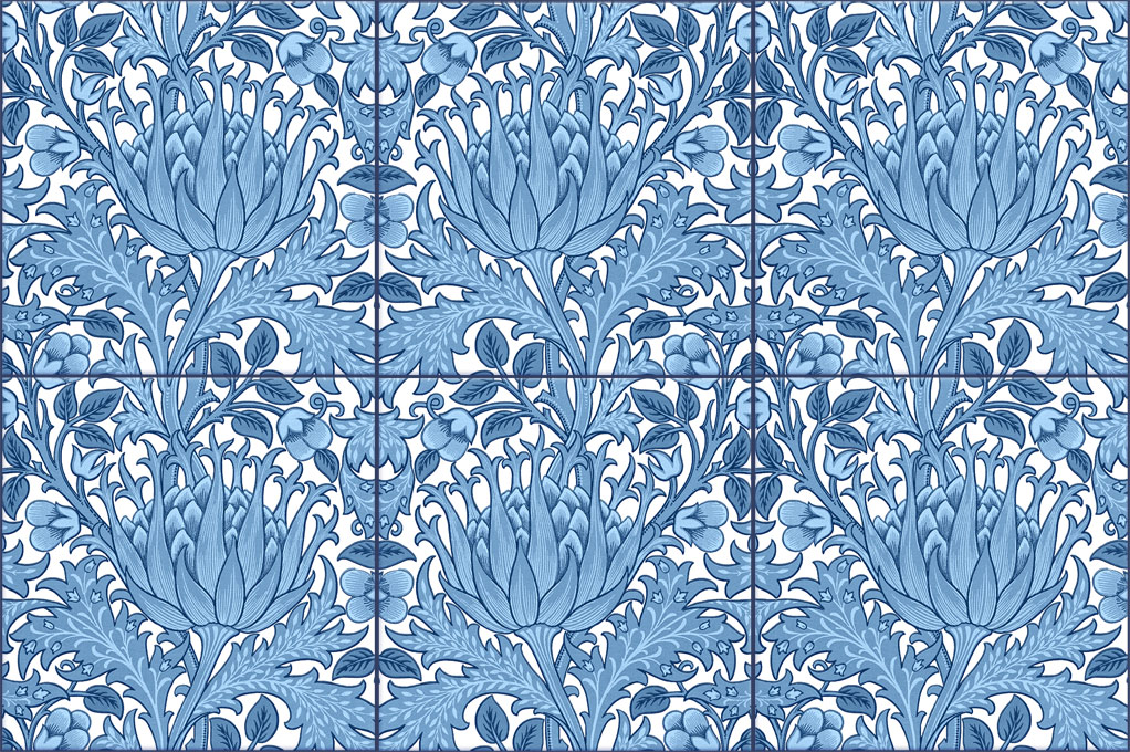 Morris and Co. Artichoke Backsplash Tiles, blue and white