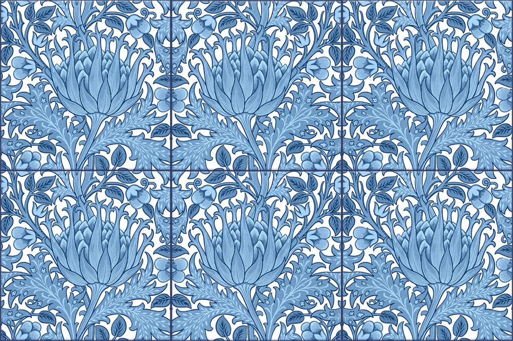 Morris and Co. Artichoke Backsplash Tiles, blue and white