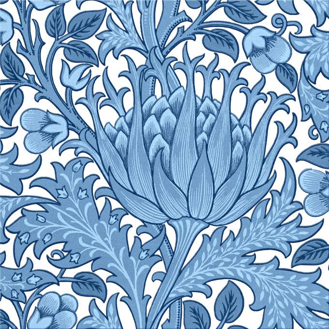 Morris and Co. artichoke, blue and white tile
