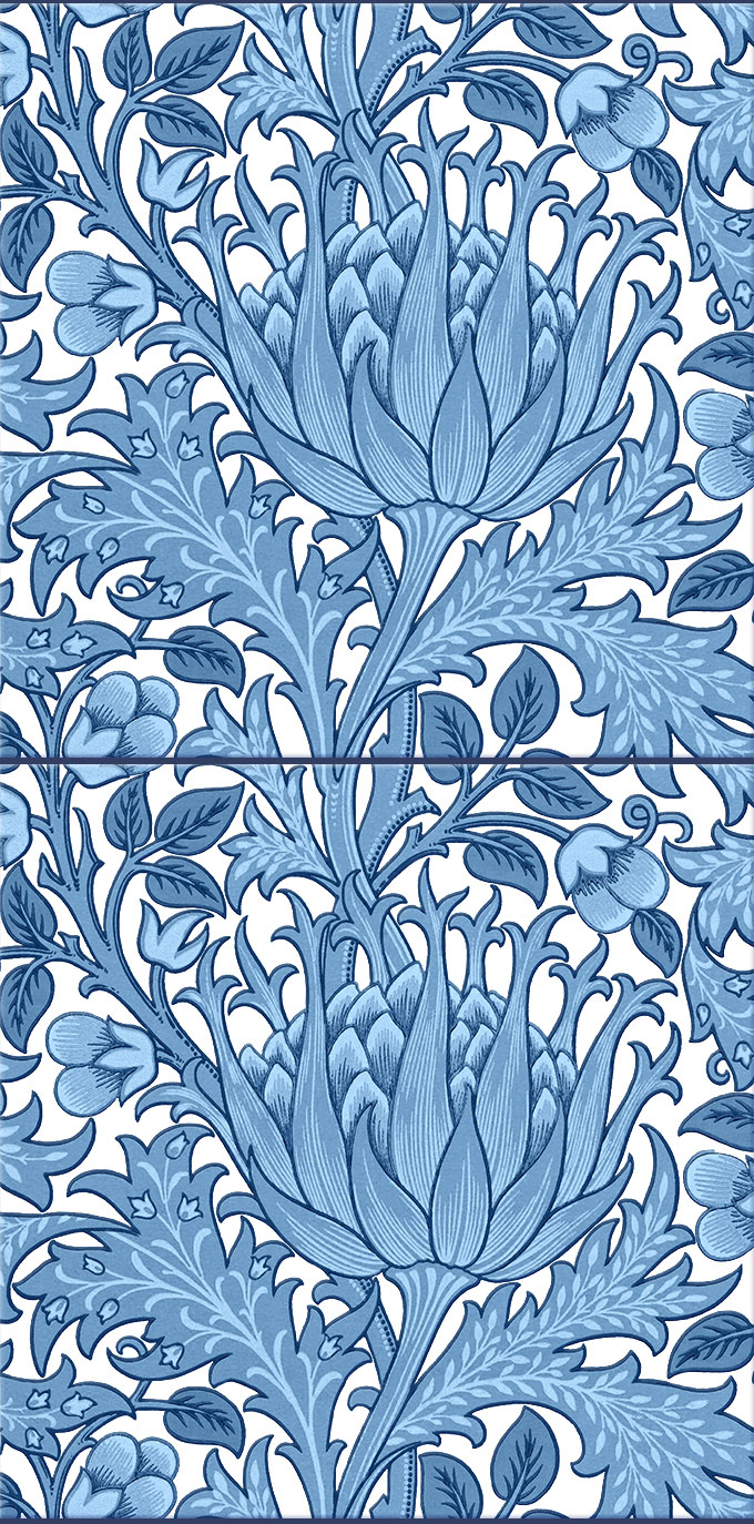 Morris and Co. Artichoke Fireplace Tiles, blue and white