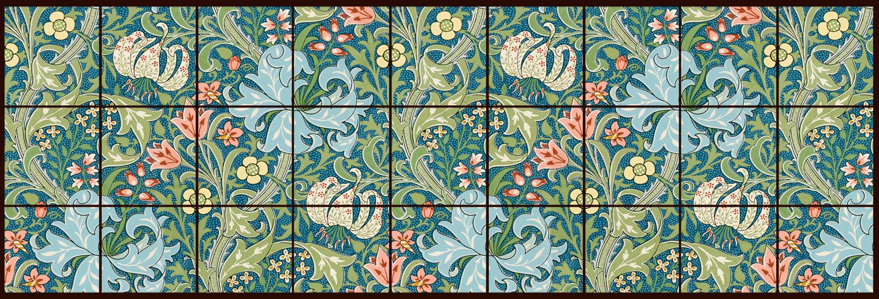 William Morris Tile Golden Lily large backsplash