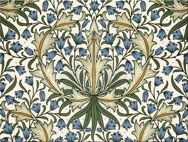William Morris Tile: Harebells, blue and yellow on cream, 8x6 inch border tiles