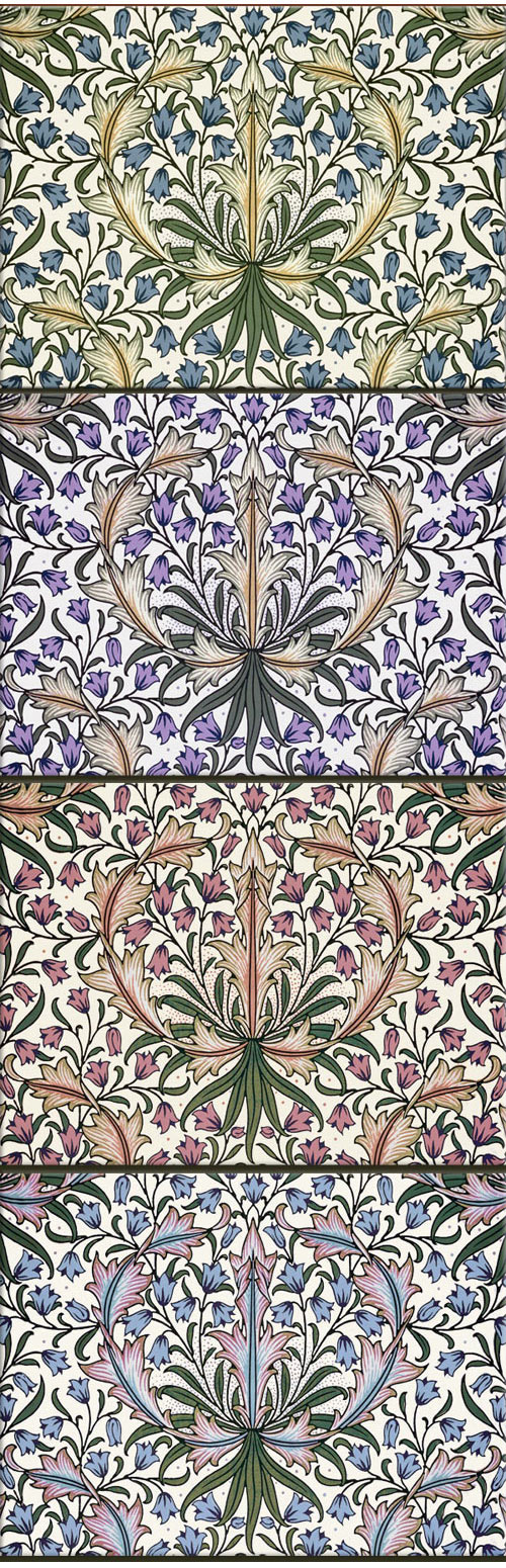 William Morris Harebell variations, tiles from textiles, 6 x 8 inches