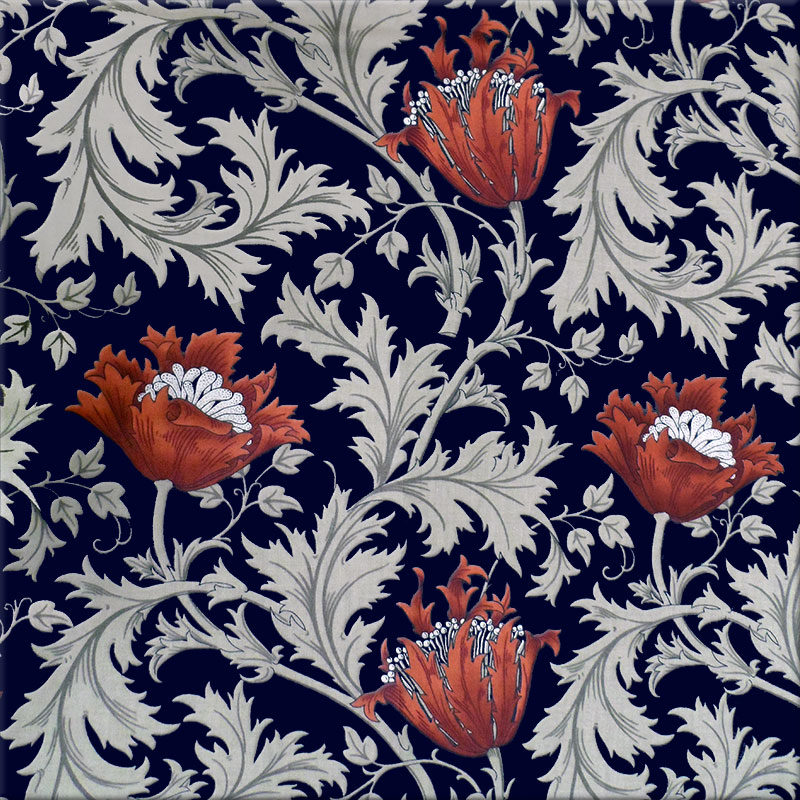 William Morris Anemone tiles, red Anemones, silver green leaves, midnight background