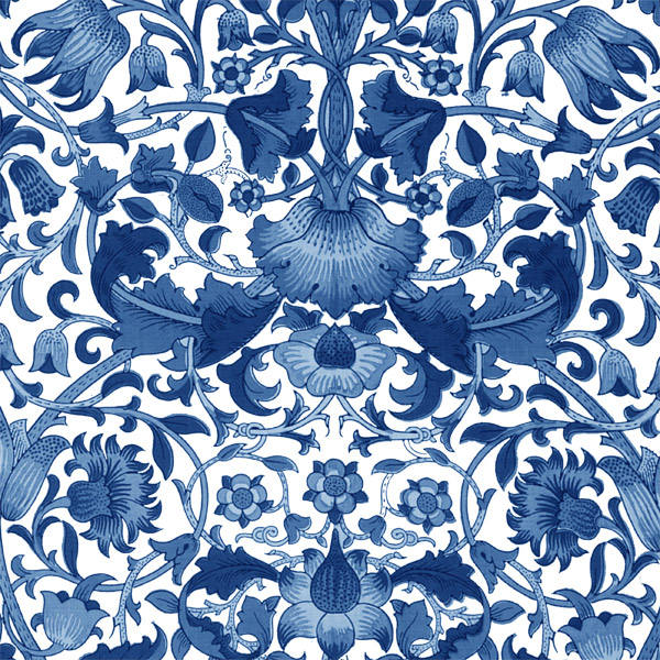William Morris Lodden pattern, blue and white