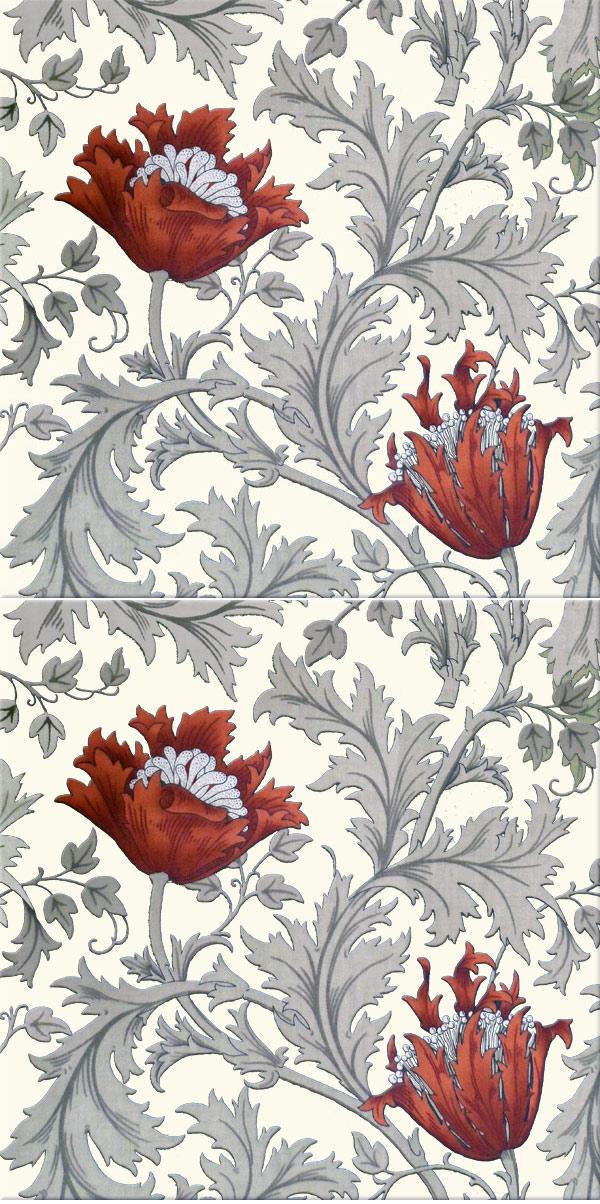 William Morris Poppy Anemone fireplace border tiles