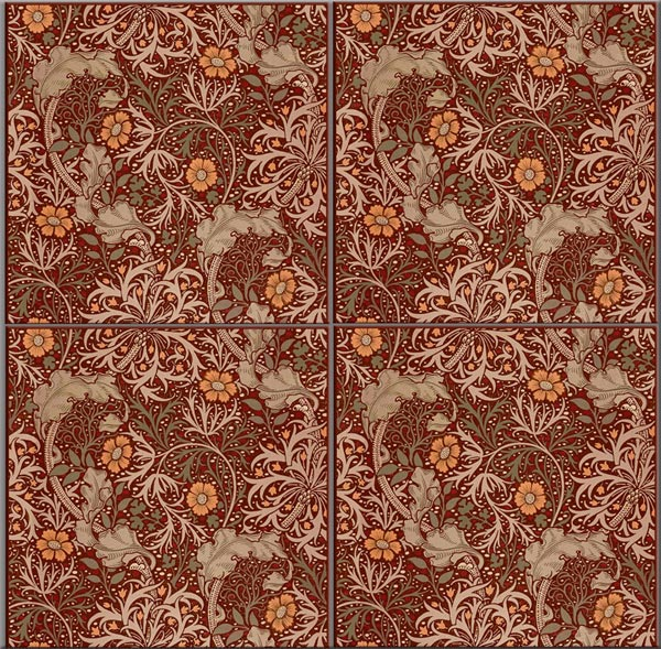William Morris Tile: Seaweed tiles, 6 inch tiles, seamless.