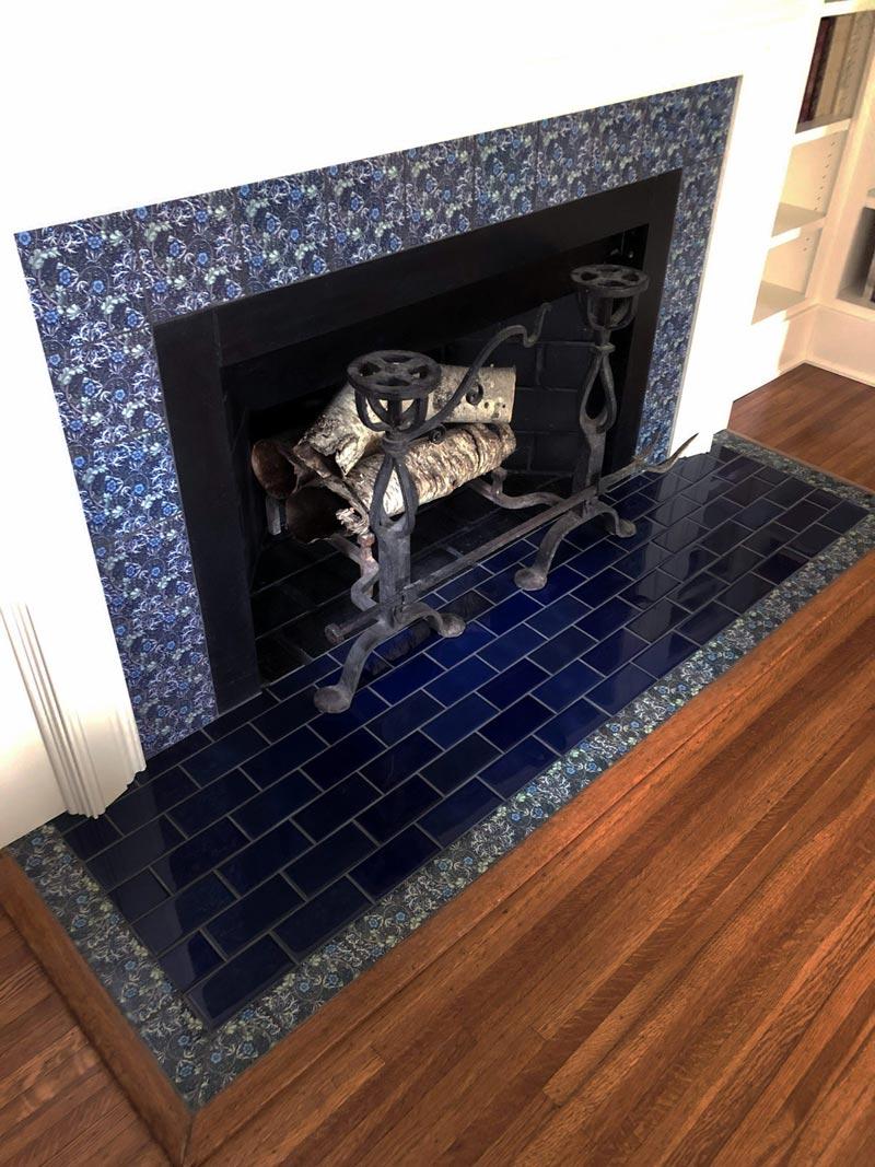 Seaweed Tile fireplace, indigo background