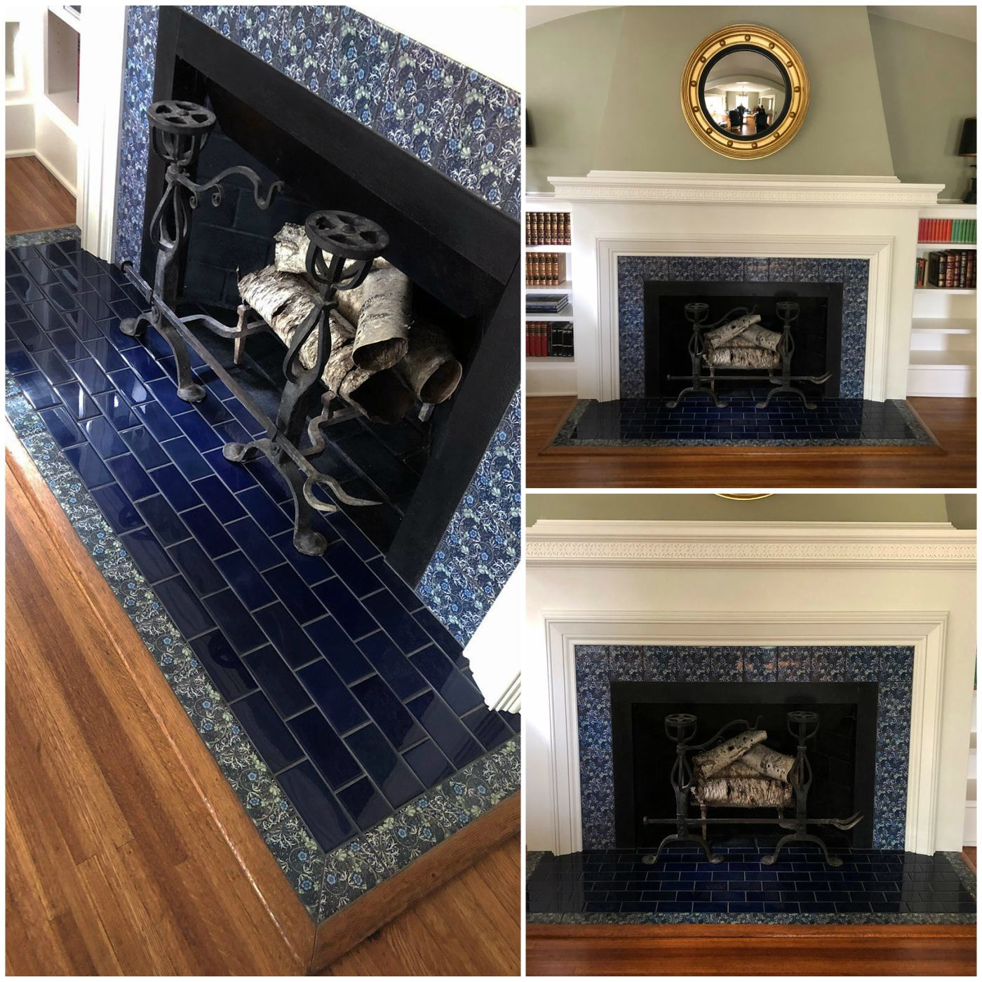 Morris and Co. Seaweed tiles. Large fireplace, Louisville Kentucky