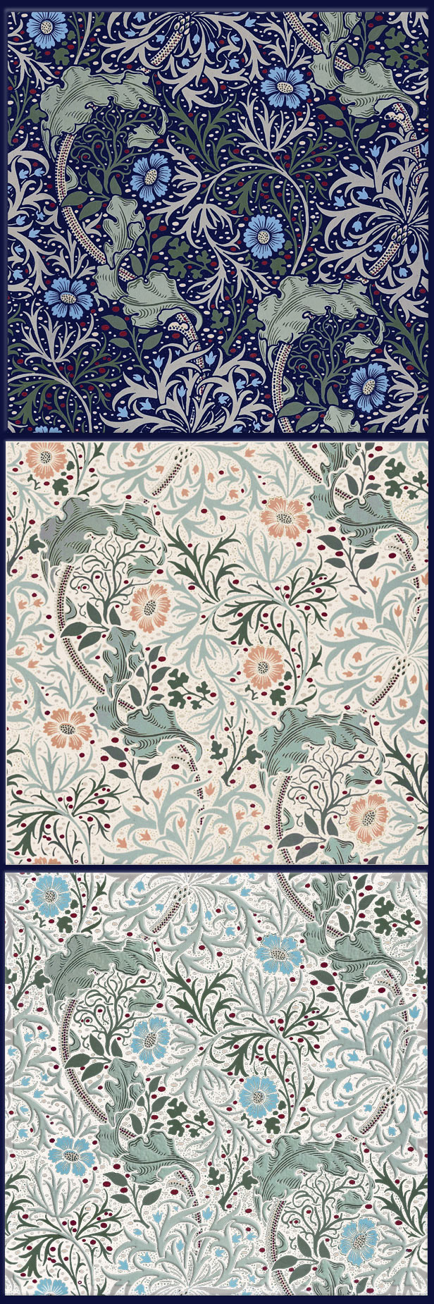 William Morris Seaweed variations, tiles from textiles, 6 x 6 inches