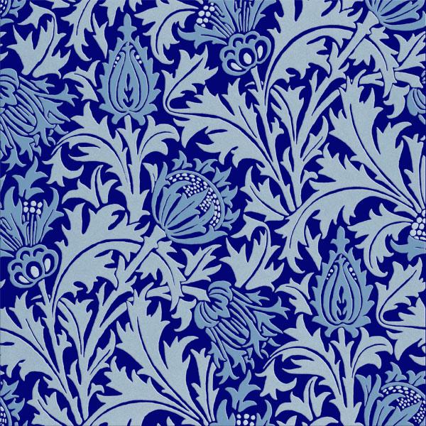 William Morris Thistle tiles, Winter Blues