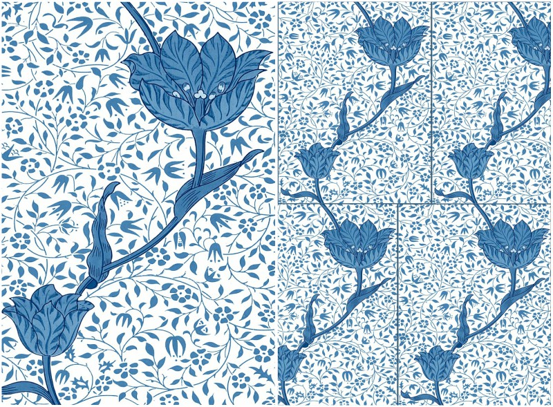 William Morris Medway (Garden Tulip), 6x8 inch tiles