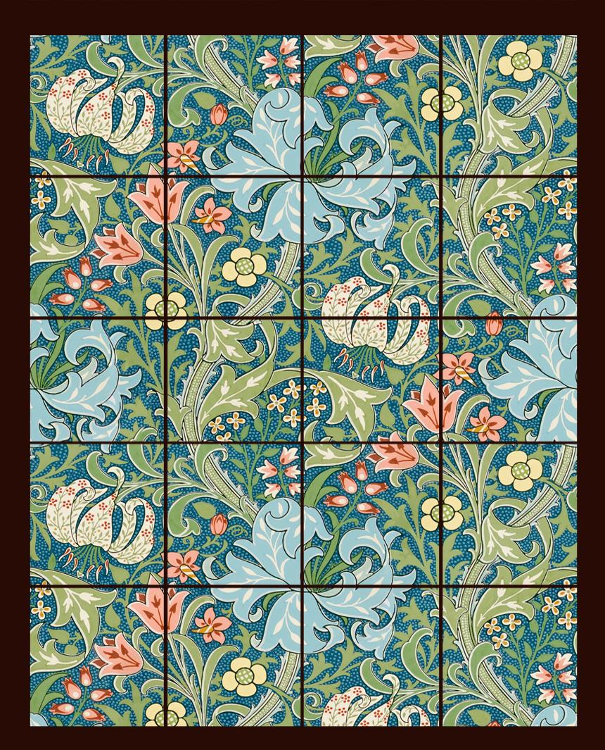 William Morris Tile Golden Lily backsplash
