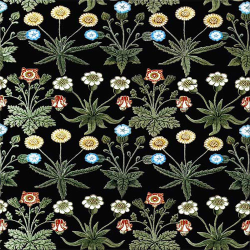 William Morris Woodblock Daisy tile, black background