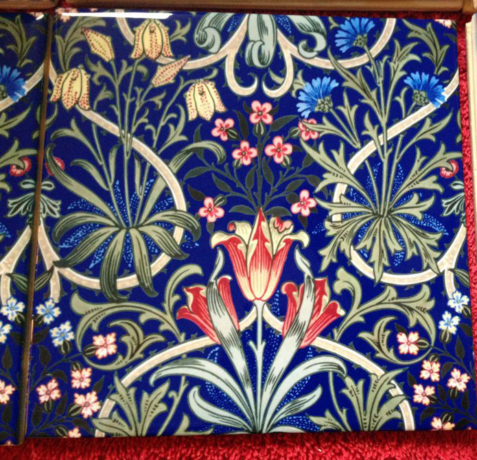 William Morris Woodland Weeds ceramic tile, cobalt background