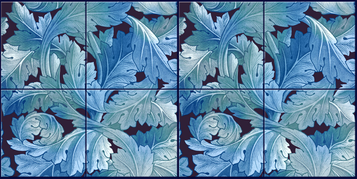 William Morris Acanthus, four-tile border