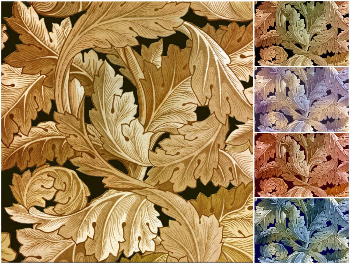 William Morris Acanthus tile, variations