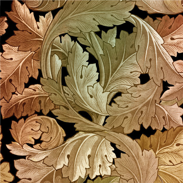 William Morris Acanthus tile, black hills gold colors