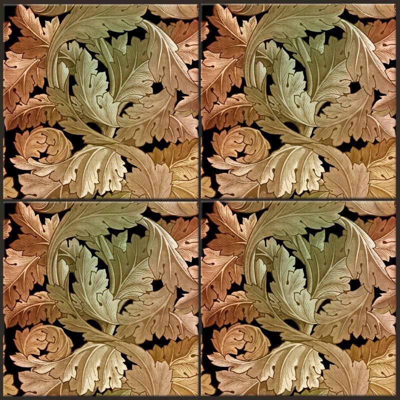 William Morris Acanthus tiles in Black Hills Gold
