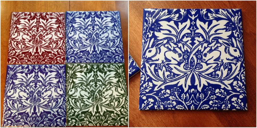 Brother Rabbit tiles: brick, cobalt, indigo, green