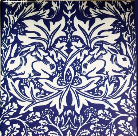 Brother Rabbit tile, on cobalt blue