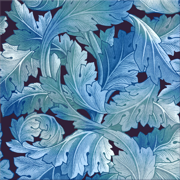 William Morris Acanthus tile in heavenly blues